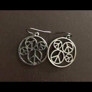 Silver Peace Symbol Earrings